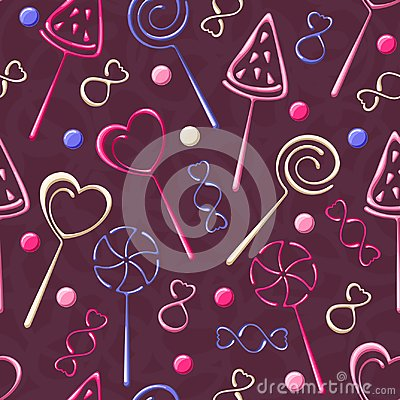 Free Seamless Pattern With Candies And Lollipops Royalty Free Stock Photography - 106264727