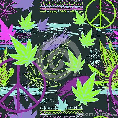Free Seamless Pattern With Cannabis Leaves, Hippie Peace Symbol, Ethnic Ornament And Grunge Brush Strokes. Abstract Background In Patch Stock Image - 129514291