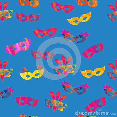 Free Seamless Pattern With Carnival Masks Stock Photography - 53843962
