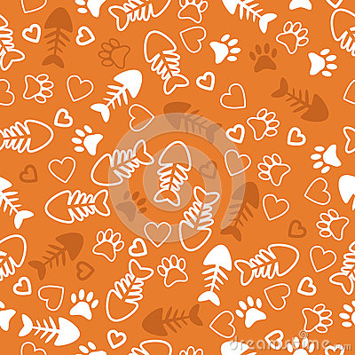 Free Seamless Pattern With Cat Paw Prints, Fish Bone And Hearts. Oran Stock Photos - 49778353