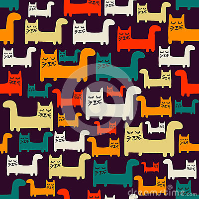 Free Seamless Pattern With Cats Stock Images - 55022064
