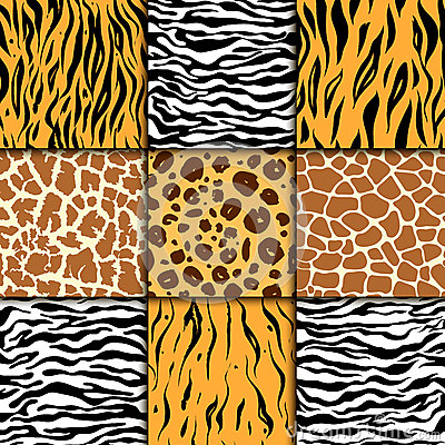 Free Seamless Pattern With Cheetah Skin. Vector Background. Colorful Zebra And Tiger, Leopard And Giraffe Exotic Animal Print Stock Images - 94006494