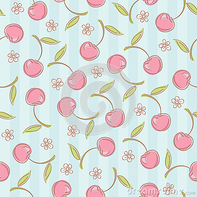 Free Seamless Pattern With Cherries Royalty Free Stock Photo - 36551065