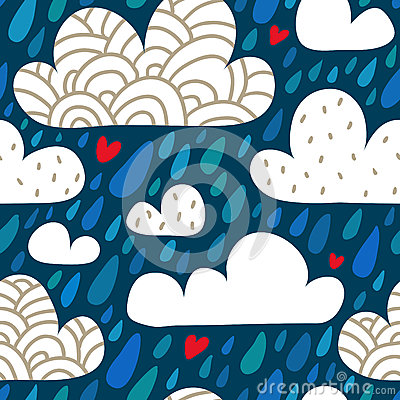 Free Seamless Pattern With Clouds And Falling Raindrops And Hearts Stock Photos - 59832673