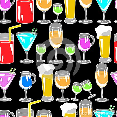Free Seamless Pattern With Cocktail Glasses Stock Photos - 49345243