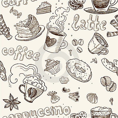Free Seamless Pattern With Coffee Cakes Pies And Latte Royalty Free Stock Images - 23977989