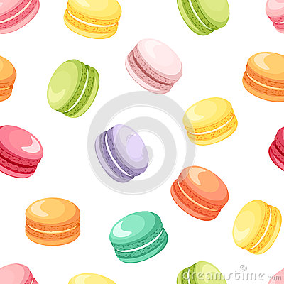 Free Seamless Pattern With Colorful Macaroon Cookies On White. Vector Illustration. Royalty Free Stock Images - 44838219