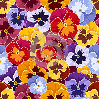 Free Seamless Pattern With Colorful Pansy Flowers. Royalty Free Stock Photos - 34516698