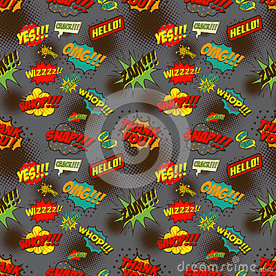 Free Seamless Pattern With Comic Style Phrases. Pop Art Style Quotes. Stock Photos - 80902413