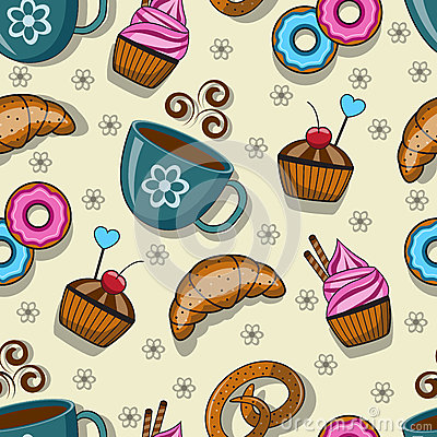 Free Seamless Pattern With Cups And Sweets Royalty Free Stock Images - 44794609