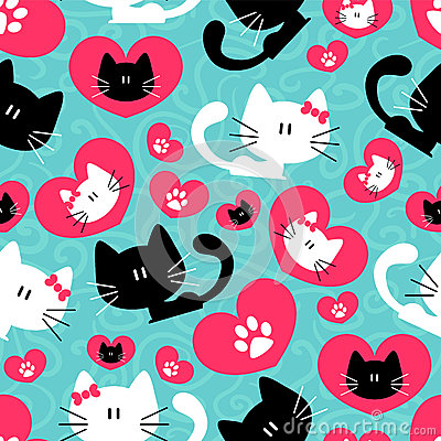 Free Seamless Pattern With Cute Couple Of Cats Stock Image - 28694441
