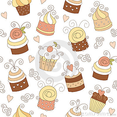 Free Seamless Pattern With Cute Cupcakes Royalty Free Stock Image - 16338366
