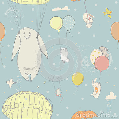 Free Seamless Pattern With Cute Little Hares And Polar Bear Stock Photo - 76851090