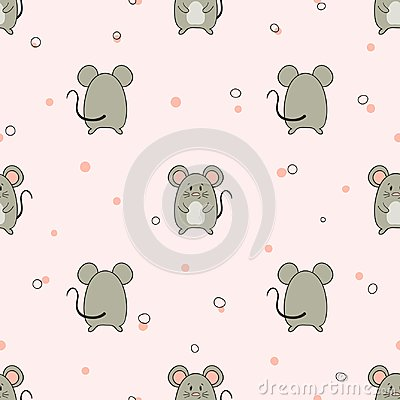 Free Seamless Pattern With Cute Little Mice. Vector Mouse Illustration Royalty Free Stock Photography - 121669587