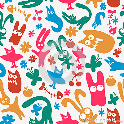 Free Seamless Pattern With Cute Monsters Stock Photography - 28549572