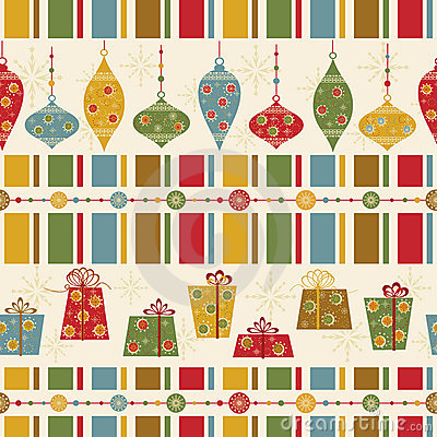 Free Seamless Pattern With Decorated Balls And Gifts Stock Photos - 16943993