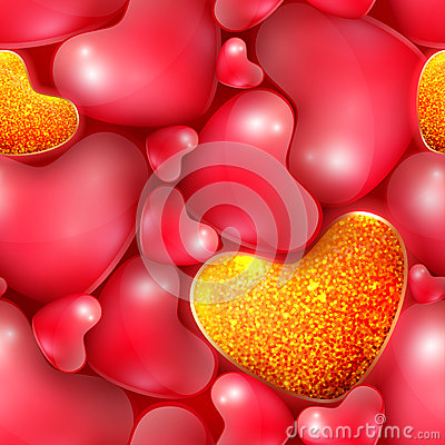 Free Seamless Pattern With Different Sized Hearts To The Happy Valentine S Day Stock Photo - 66427710
