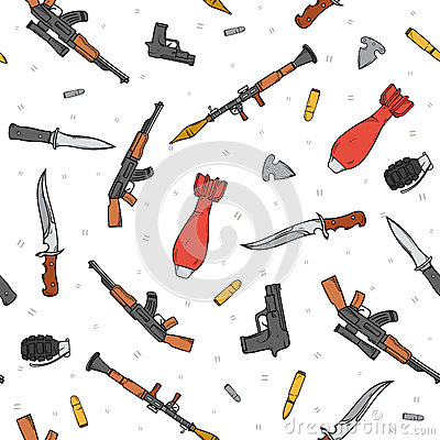 Free Seamless Pattern With Different Weapon Scattered By Doodle. Handmade Bombs Stock Images - 61825884
