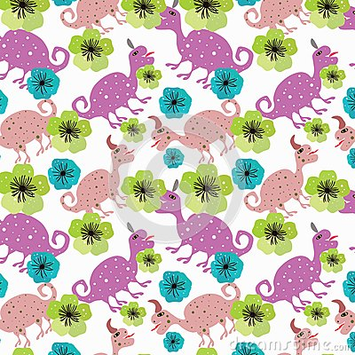 Free Seamless Pattern With Dinosaurs And Flowers. Royalty Free Stock Photo - 117569495