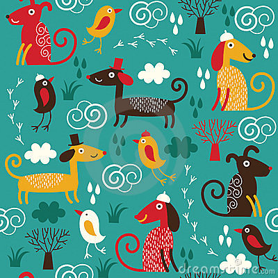 Free Seamless Pattern With Dogs Royalty Free Stock Photo - 24131885