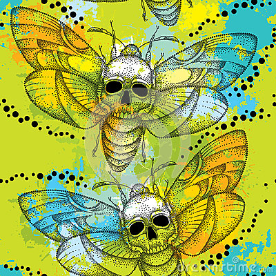 Free Seamless Pattern With Dotted Death S Head Hawk Moth Or Acherontia Atropos And Colorful Blots Royalty Free Stock Photography - 62684287