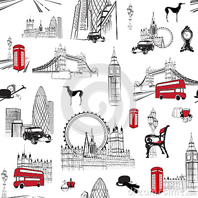 Free Seamless Pattern With English Miniatures Royalty Free Stock Photography - 39549337