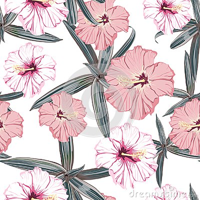 Free Seamless Pattern With Exotic Tropical Palms And Hibiscus Flowers. White Background. Royalty Free Stock Image - 122034646