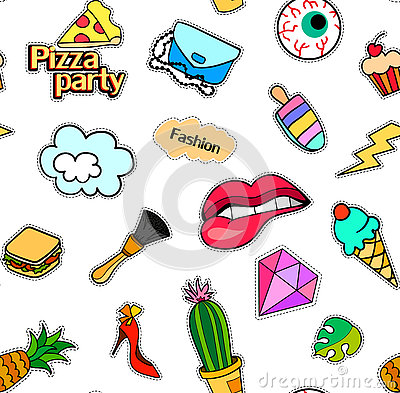 Free Seamless Pattern With Fashion Patch Badges. Pop Art. Vector Background Stickers, Pins, Patches In Cartoon 80s-90s Comic Royalty Free Stock Image - 78009886