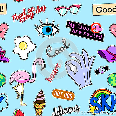 Free Seamless Pattern With Fashion Patch Badges. Pop Art. Vector Background Stickers, Pins, Patches In Cartoon 80s-90s Comic Royalty Free Stock Image - 78407776