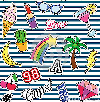 Free Seamless Pattern With Fashion Patches. Stickers, Pins And Handwritten Notes Collection In Cartoon 80s-90s Comic Style Stock Photo - 76961560