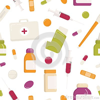 Free Seamless Pattern With First Aid Kit, Inhaler, Pills, Drugs, Medications, Syringe And Other Medical Tools On White Royalty Free Stock Photos - 117715218