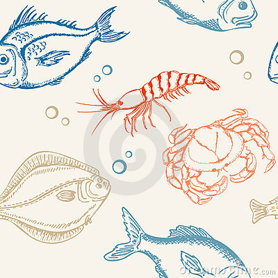 Free Seamless Pattern With Fish Royalty Free Stock Photo - 19511075
