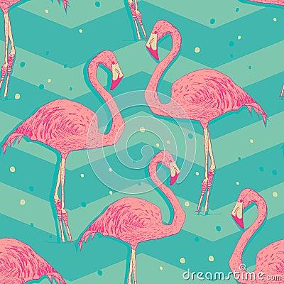 Free Seamless Pattern With Flamingo Birds Royalty Free Stock Photos - 45176158