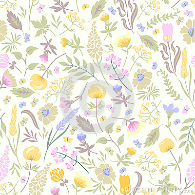 Free Seamless Pattern With Flowers Royalty Free Stock Photography - 66230207