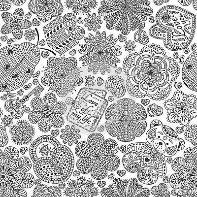 Free Seamless Pattern With Flowers, Hearts, Cards, Bear, Gift, Key And Ladybug.  Text Love You And Love Of My Life. Royalty Free Stock Photos - 63361688