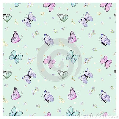Free Seamless Pattern With Flying Butterflies And Pansy Flowers In Watercolor Style. Beauty In Nature. Background For Fabric, Textile Stock Photo - 105109730