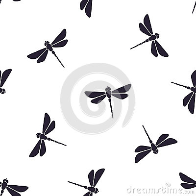 Free Seamless Pattern With Flying Dragonfly With A Straight Body Royalty Free Stock Photography - 99162067