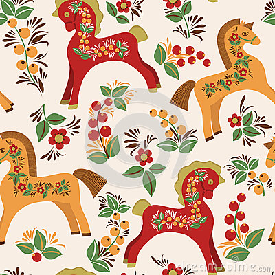 Free Seamless Pattern With Folk Horses Royalty Free Stock Image - 34401886
