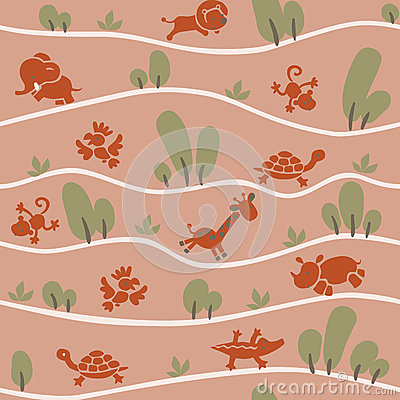 Free Seamless Pattern With Funny African Animals Stock Photo - 66394100
