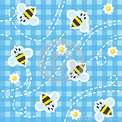 Free Seamless Pattern With Funny Bees Stock Photography - 58484102