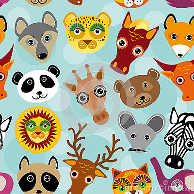 Free Seamless Pattern With Funny Cute Animal Face On A Blue Backgroun Royalty Free Stock Photo - 44630615