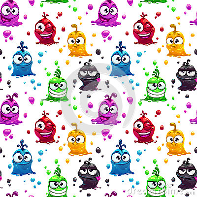 Free Seamless Pattern With Funny Jelly Characters Royalty Free Stock Photos - 60050568