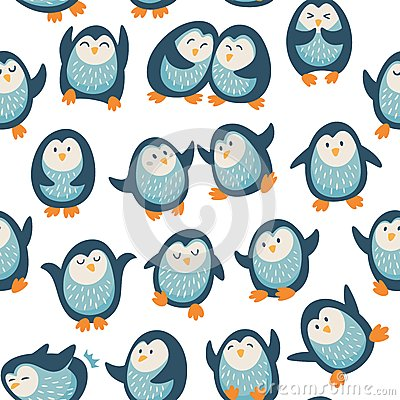Free Seamless Pattern With Funny Penguins Stock Images - 50923254