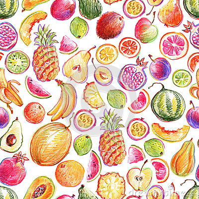 Free Seamless Pattern With Hand Drawn Bright Stylish Fruits Stock Photography - 78102702