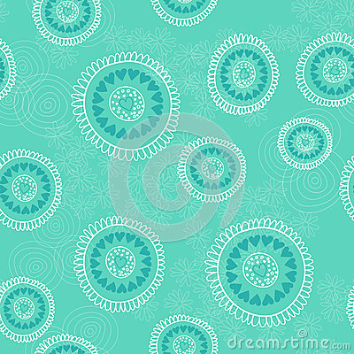 Free Seamless Pattern With Hand Drawn Circles, Flowers And Hearts. Ornate Floral Endless Hipster Background. Royalty Free Stock Photos - 49447238