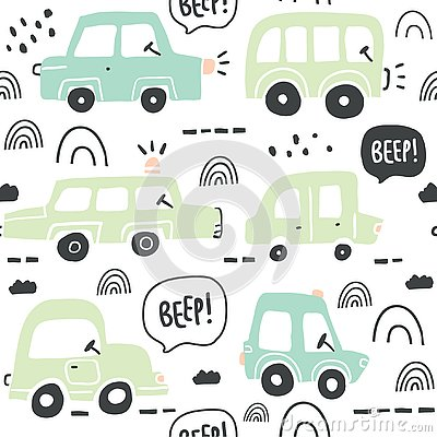 Free Seamless Pattern With Hand Drawn Cute Car Royalty Free Stock Photos - 130000488