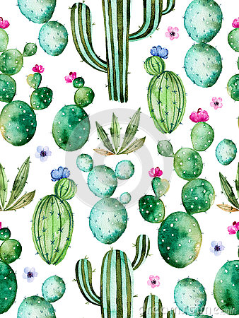 Free Seamless Pattern With High Quality Hand Painted Watercolor Cactus Plants And Purple Flowers Stock Photos - 68226103
