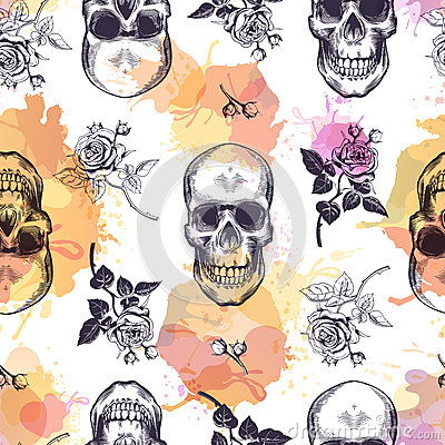 Free Seamless Pattern With Human Skulls And Roses Drawn In Etching Style And Translucent Orange And Pink Stains. Creative Stock Photos - 86789223
