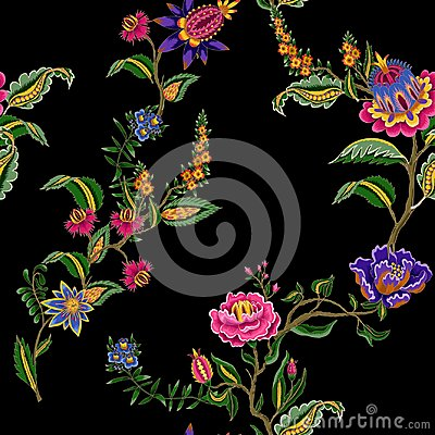 Free Seamless Pattern With Indian Ethnic Ornament Elements. Folk Flowers And Leaves For Print Or Embroidery. Vector Illustration. Royalty Free Stock Images - 122560639