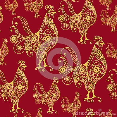 Free Seamless Pattern With Lace Cock 24 Royalty Free Stock Photo - 75376445